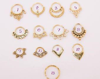 Brass Septum Rings, Brass Septum Rings, Septum Rings, Nose Rings, Brass Nose Ring, Boho, Gypsy, Tribal, Minimal, Brass