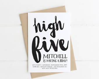 High Five 5th Birthday Invitation, Black and White, Hi Five Modern Bday Invitation, Boy Birthday Party Ideas, Fifth, Simple