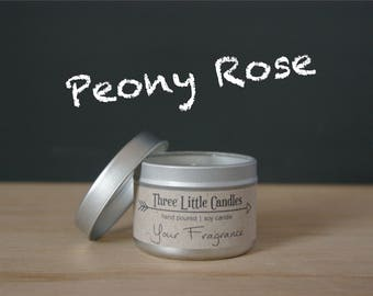 Peony Rose Soy Candle Tins - 2oz, 4oz or 8oz