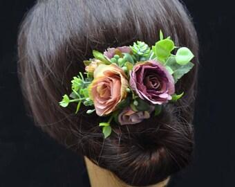 Purple hair flower Floral hair clip Purple wedding Purple Rose flower clip Purple Bridal Flower for hair Girls hair clip Flower hair jewelry