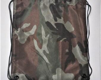 "Sport Bag * Cloth Sports Bag * Camouflage Fabric Bag * Tassel Bag * 12""X14"" (30X35cm)"
