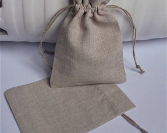 "Linen Pouches * Sack * Bag for Gifts * Rustic Wedding Favor * Handmade Gifts * 5 Light Linen Pouches * 4.7""x 6"" (12cm x 15cm)"