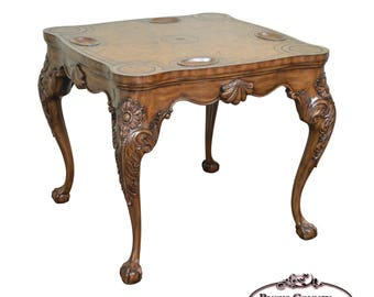 Elegant Maitland Smith Chippendale Rococo Style Leather Top Claw Foot Game Table