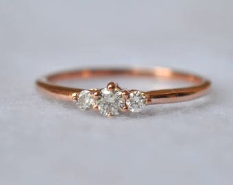 3 diamond ring three round brilliant diamond engagement ring 14k solid gold prong - Dainty Wedding Rings