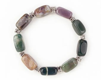 Indian Agate Stretch Bracelet for Calming, Healing, and Energy Balance