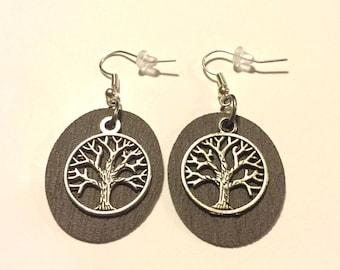 Leather Earrings, Faux Leather earrings, Tree of Life Leather Earrings, Silver Earring Wires,