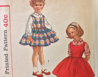 Simplicity 2209 girls blouse and jumper size 3 vintage 1950's sewing pattern