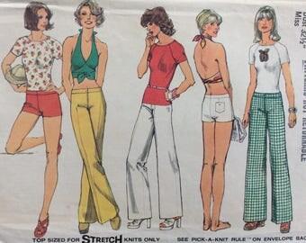 Simplicity 6354 misses hip-hugger pants or shorts, top & halter top size 10 bust 32 1/2 waist 25 vintage 1970's sewing pattern