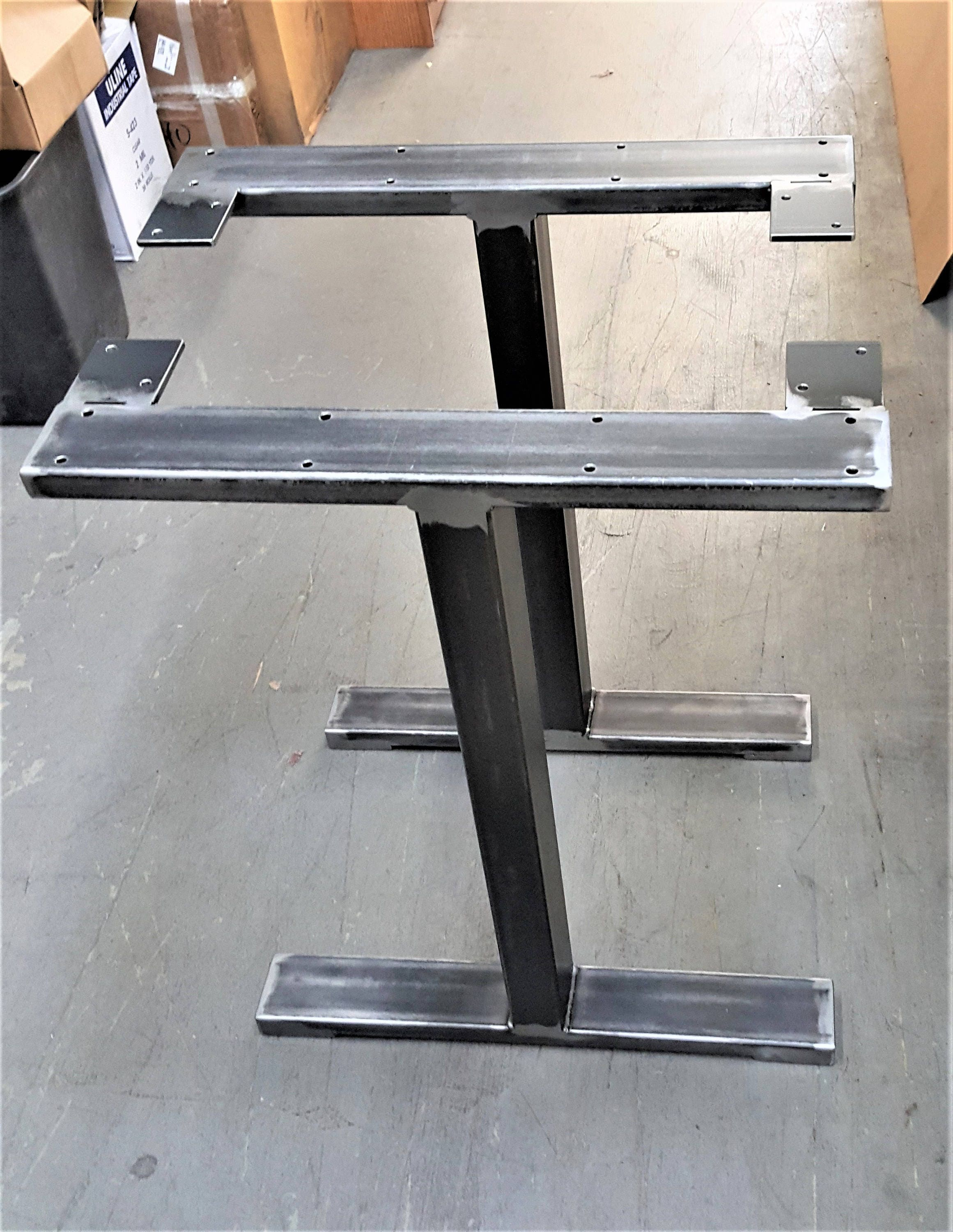 Industrial T Style Table Legs. Model #TT06S, Table Metal Legs, End Table  Legs, 3 X 1 And 3 X 3 Tubing, Set Of 2 Legs