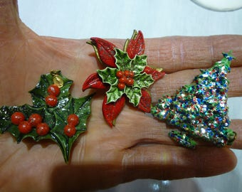 K95 3 Vintage Christmas Themed Pins with Religious Overtones.