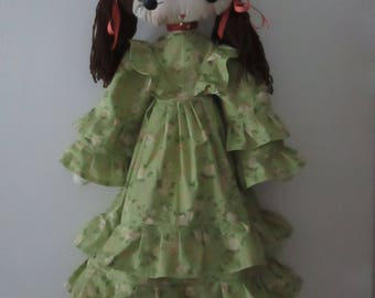 """Hand made doll from a vintage pattern (Doll 32"""" high)"""