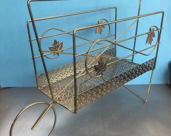 Vintage Brass Wheelbarrow Wire Magazine Caddy Rack Holder Mid Century Modern