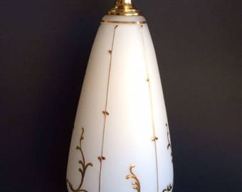 German Vintage Glass and Gold Painted Table Lamp Mid Century Modern