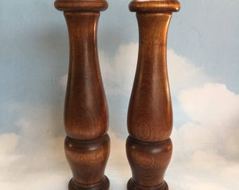 """11"""" Pair of Canadian Mid Century Baribocraft Maple Salt and Pepper Shaker Mill"""
