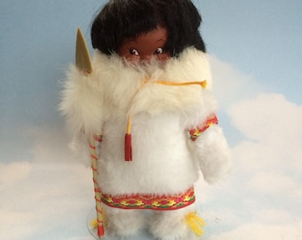"Handmade 10"" Canadian Inuit Native Doll in White Fur"