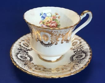 Paragon Teacup & Saucer White Gold Floral Bouquet  Vintage England China mint