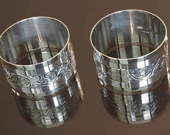 Vintage Napkin Rings, Vintage Ornate Real Silver Napkin Rings for Holidays, Antique Sterling Silver Napkin Ring Pair