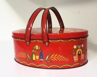 Vintage Red Tin Dutch Basket