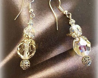 Vintage Crystal Glass Bead Earrings, Dangle Earrings, Silver Beadcaps, Assemblage Earrings, Wedding Jewelry, Upcycled and Repurposed Jewelry