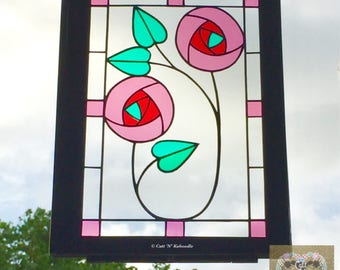 Papercut Rose stained glass effect panel