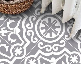 SALE!! Tile Decals - Tiles for Kitchen/Bathroom Back splash - Carreaux Ciment Encaustic Lys Vinyl Tile Sticker 36 pcs Pack in Dove Grey