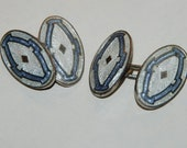 1930s era Guilloché Enamel Oval Double Faced Cuff Links -- Free Shipping!