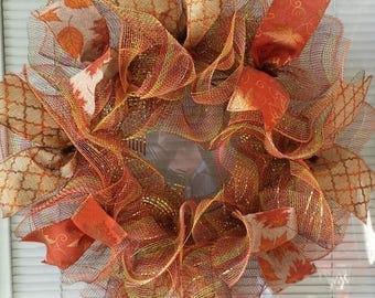 "Fall Wreath, Autumn Wreath, Leaf Wreath, Deco Mesh Wreath, Mesh Wreath, Ribbon Wreath, Rustic Wreath, Seasons Wreath, 18"" Fall Wreath"