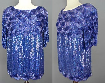 80's Sequined Top    80's Blue Beaded And Sequined Silk Top With Deco Scallop Design