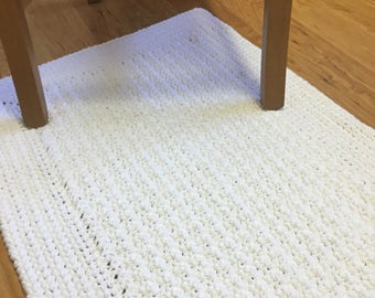 White cotton floor bath mat rug handmade-Cotton crochet white nursery mat rug-soft bath nursery rug-white rug mat