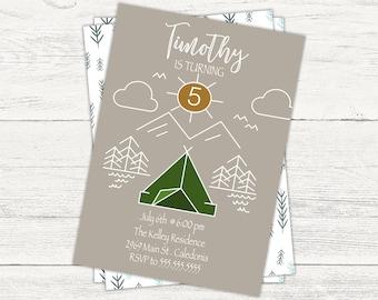 Camping forest digital birthday invitation