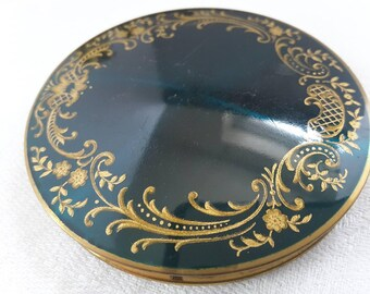 Green and Gold Stratton Powder Compact