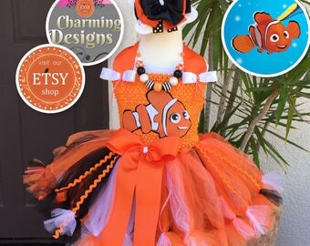 Nemo Tutu Dress with Bow & Necklace - By Charming Designs
