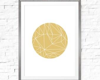 Geometric art print, Gold geometric decor, Gold wall art, Large print, Gold print, Geometric decor, Minimalist art, Circle, Geometric design