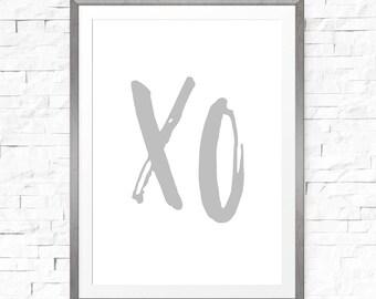 Gray XO print, Printable art, Typography art, Xo, Grey prints, XO wall art, Xo print, Wall prints, Downloadable art, Grey nursery