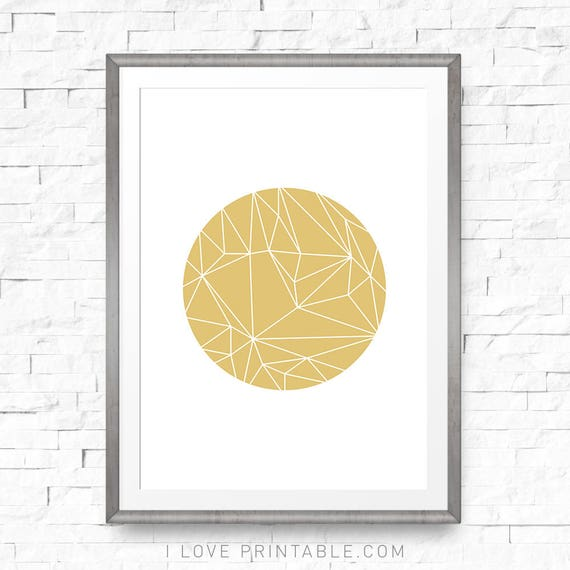 Geometric art print Gold geometric decor Gold wall art