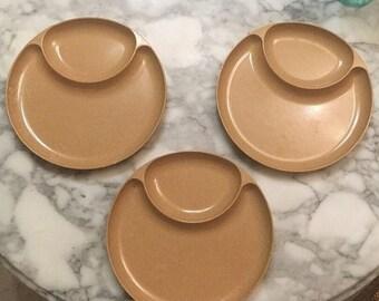"""On Sale Set Of 3 Vintage ELLINGERS Agatized Wood Divided Plates 10"""" Mid Century Mod"""