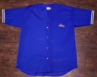 90s Tommy Hilfiger Bootleg Blue Baseball Jersey Flag Logo Patch Size XL