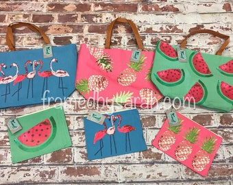 Summer Flamingo Pineapple Watermelon Tote and Cosmetic Bag, add a monogram