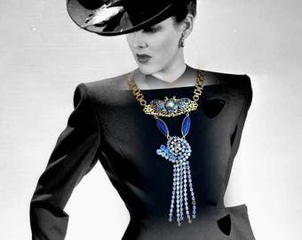 Art deco necklace 1920s, 1930 - GLAMOUR in blue