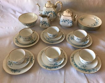Antique Old Paris (early Limoges) Tea Set 6 with 12 snack plates Teapot creamer sugar waste bowl 6 cups & saucers snack set HAND PAINTED