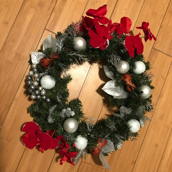 "Beautiful Hand made Christmas Wreath Silver and white with red and silver accented flowers 18"" across"