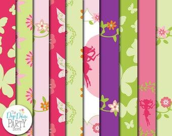 Fairy Garden Digital Scrapbooking Paper Pack, Buy 2 Get 1 FREE. Instant Download