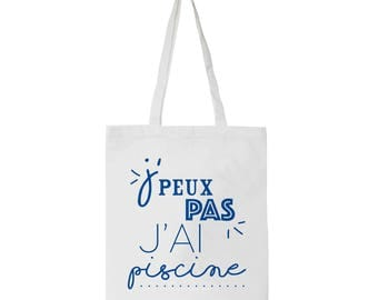 White tote bag for adult with funny french words