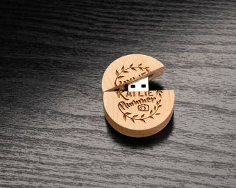 Set of 25 Wooden Round Maple 8GB 2.0 USB Flash Drive- Personalized Wooden Round Body USB Flash Drive - Laser Engrave your own design!