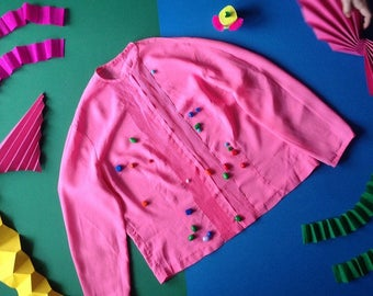 Vintage 1980s Pleated Pink Blouse
