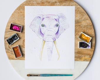 elephant painting, watercolour elephant painting, elephant art, kids room decor, baby nursery decor, african animal, elephant lover gift