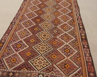 Size:13.8 ft by 4.5 ft Handmade Kilim Antique Uzabk Kilim