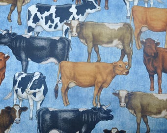 CUSTOM MEN'S BOXERS, Made to Order, Cows on Blue Background, Perfect Gift for a Farmer or Dairy Man, Choose Size