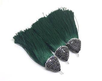 Dark Green Tassels, tassel earrings, Bejeweled Tassels, 3.25 Inch 85mm Tassel, green jewelry, tassel necklace, green necklace, silk tassel