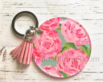 Roses Acrylic Blanks, 2.5 Inch Circles 1 Hole, tassel Keychain blanks, blank acrylics, circle keychains, monogram keychain, pink blue flower